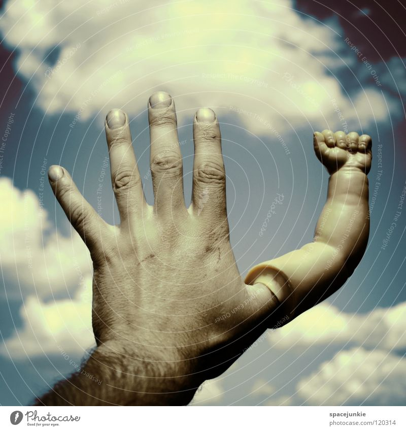 Hand Sky Blue Joy Clouds Arm Fingers Touch Traffic infrastructure Whimsical Strange Fist