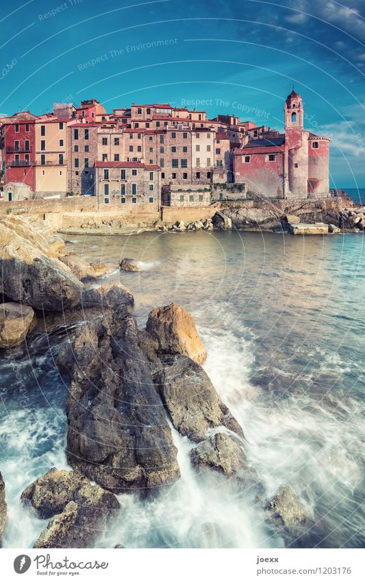 Tellaro Vacation & Travel Tourism Ocean Water Sky Beautiful weather Rock Waves Coast Italy Fishing village Deserted House (Residential Structure) Church Facade