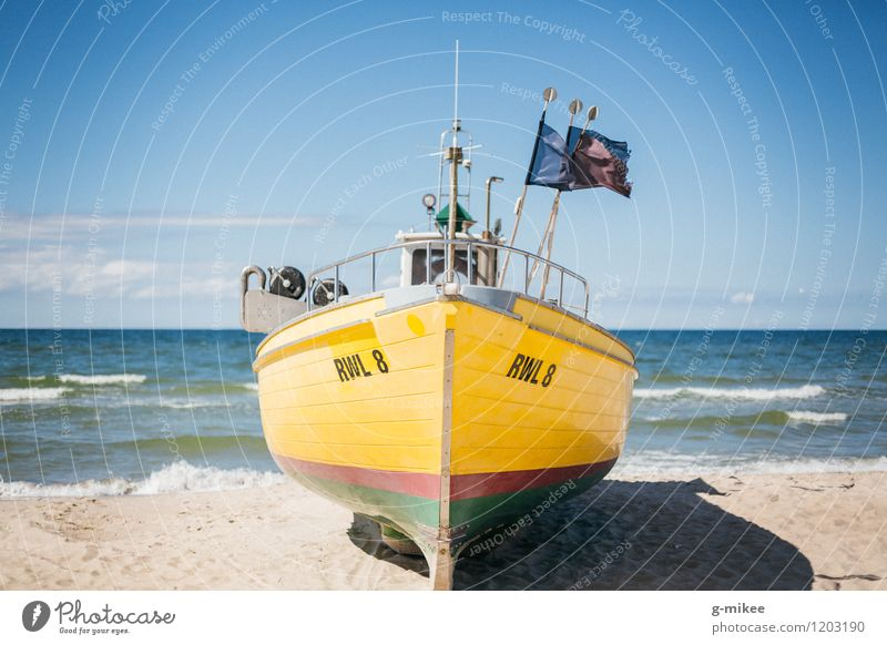 fishing boat Sand Air Water Sky Horizon Summer Beach North Sea Baltic Sea Ocean Fishing boat Large Blue Yellow Watercraft Colour photo Exterior shot Deserted
