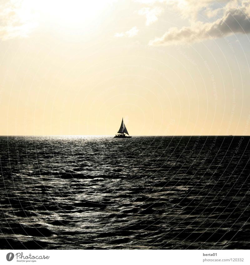 Jack Sparrow Watercraft Sunset White Clouds Ocean Waves Calm Loneliness Adventure Dark Romance Vacation & Travel Sail Fishing (Angle) Bright Salt