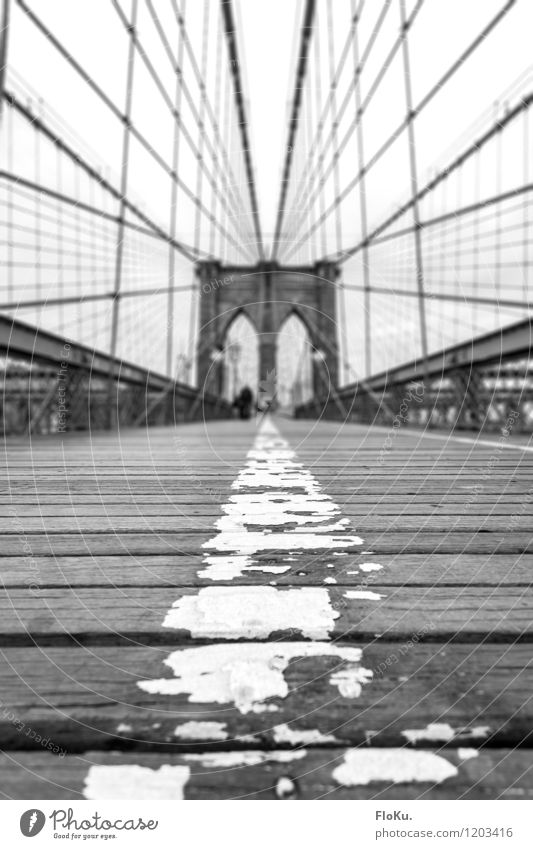 Brooklyn Bridge on foot Vacation & Travel Tourism Trip Sightseeing City trip New York City USA Town Port City Manmade structures Tourist Attraction Landmark