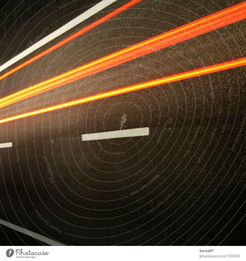 speed of light Highway Stripe White Red Dark Speed Speed of light Tar In transit Traffic infrastructure Street very fast Lawn Captured hot iron