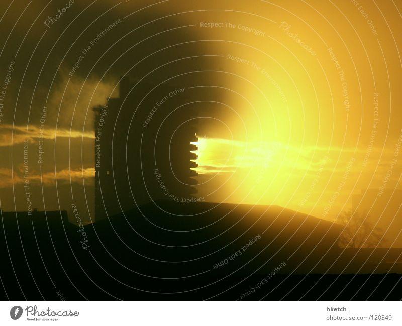 Light my fire Fog High-rise Clouds Back-light Burn Fire Blaze Sun Smoke