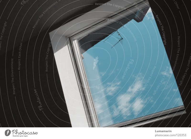 flat madcap Flat (apartment) Window Clouds Wall (building) Under Dark White Black Roof Skylight Window frame Reflection Air Airy Antenna Converse Corner