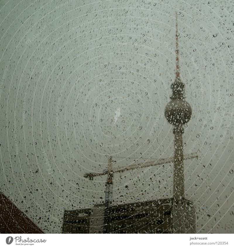 Water Window Architecture Building Rain Weather Glass Tall Drops of water Point Construction site Round Tower Manmade structures Landmark Fluid
