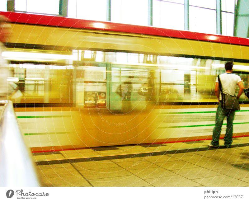 Human being Man Berlin Movement Wait Railroad Underground Train station Public transit Commuter trains Alexanderplatz