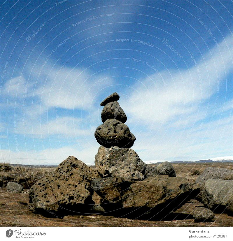 rocker Iceland Clouds Tufa Stone Minerals Sky Earth Sand Stack Elf nature spirits Road marking Troll