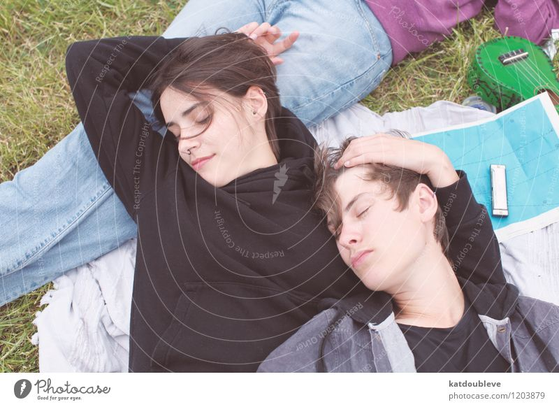 Human being Beautiful Relaxation Environment Love Emotions Happy Couple Together Friendship Lie Free Happiness To enjoy Beautiful weather Friendliness