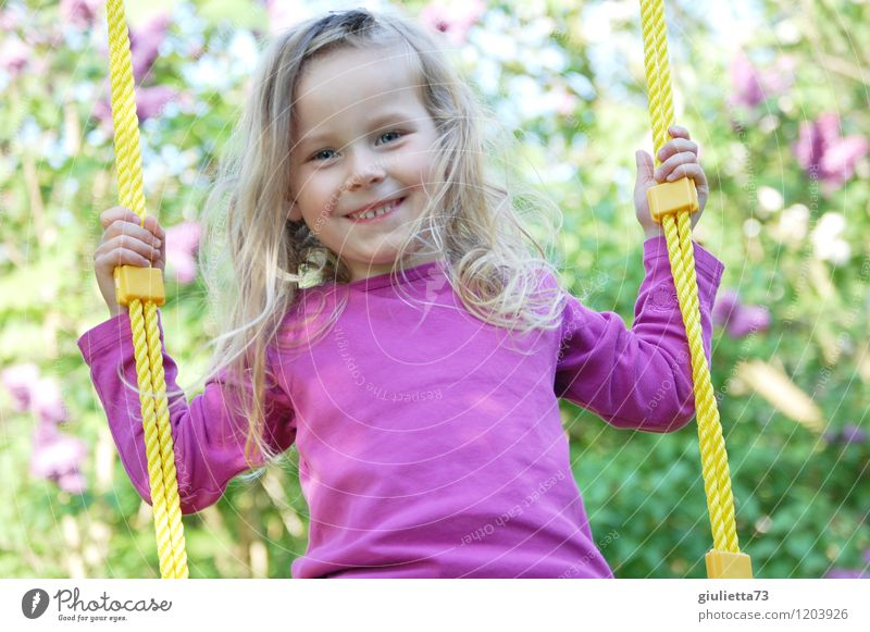 Human being Child Beautiful Summer Joy Girl Feminine Playing Happy Hair and hairstyles Garden Infancy Blonde Happiness Friendliness Violet