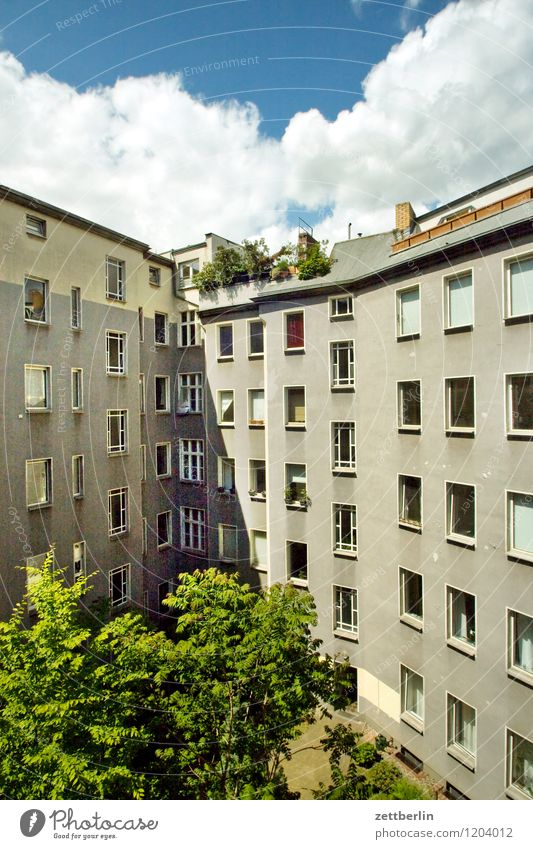 City Summer Sun Clouds House (Residential Structure) Window Wall (building) Wall (barrier) Berlin Facade Living or residing Apartment Building Downtown Tower block Story Prefab construction