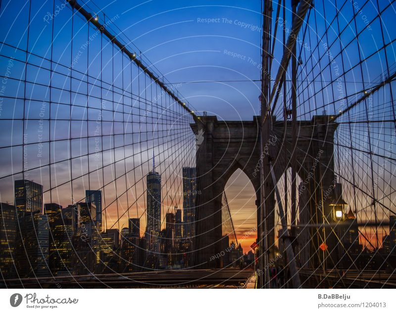 Sky Vacation & Travel City Blue Summer Building Moody Bridge Skyline Landmark Tourist Attraction Dusk Americas Sightseeing City trip New York City