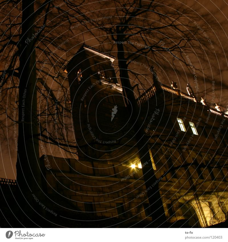 Albrechtsberg Castle at night Night Dresden Dark Park Historic Long exposure Elbschlösser Architecture