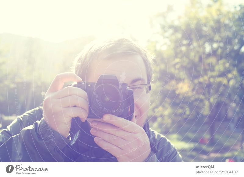 Man Art Friendship Esthetic Photography Eyeglasses To go for a walk Write Camera Snapshot Photographer Take a photo Paparazzo Clack Photo shop