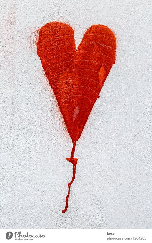 White Red Wall (building) Love Wall (barrier) Facade Point Heart Simple Round Infatuation