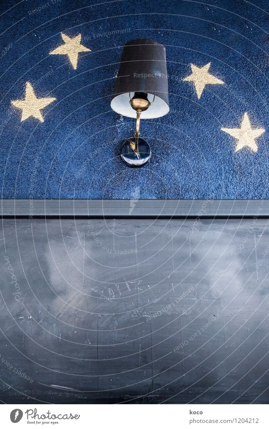 Blue White Dark Black Yellow Wall (building) Wall (barrier) Lamp Gloomy Signs and labeling Simple Stars Retro Trashy Sharp-edged Night sky