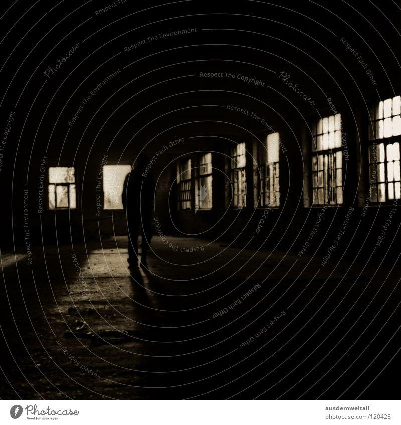 Man Old Black Loneliness Dark Window Walking Factory Curiosity Derelict Leipzig Scan