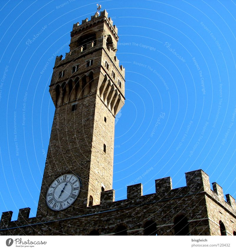 Sky Blue Clock Europe Tower Italy Historic Landmark Tourist Attraction City hall Tuscany Florence Merlon Vecchio palace