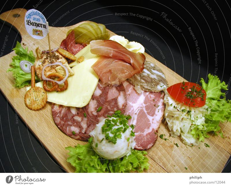 Nutrition Food Gastronomy Restaurant Bavaria Meat Wooden board Oktoberfest Sausage Cheese Pork Ham Bacon