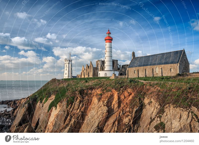 Saint-Mathieu Sky Clouds Beautiful weather Coast France Deserted Church Ruin Lighthouse Tourist Attraction Old Blue Brown Green Red White Belief