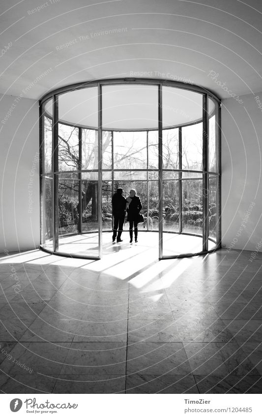 Graubner Pavilion Human being 2 Art Museum Architecture Sun Garden Manmade structures Building Glass Observe Window Central perspective Silhouette Couple Tree