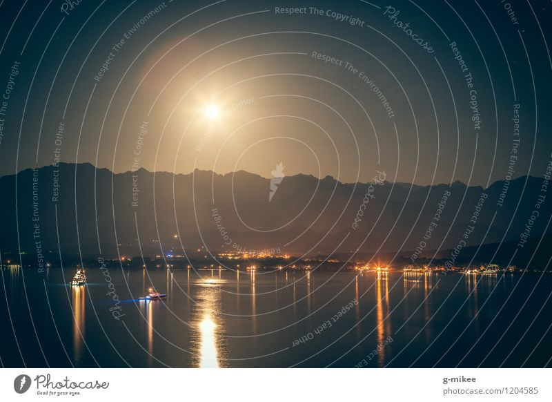 moonlight Landscape Water Sky Moon Mountain Bay Ocean Dark Light Moonlight Watercraft Night Mediterranean sea Silhouette Calm Colour photo Exterior shot
