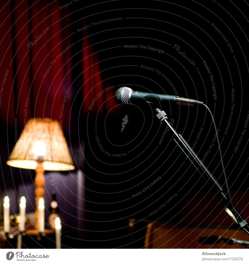 unplugged Music Music unplugged Stage Break Concert Microphone Lamp Candle Dark Empty Lighting half Wait before the gick unmanned