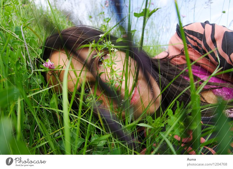 Human being Woman Nature Youth (Young adults) Beautiful Green Summer Relaxation 18 - 30 years Adults Face Spring Meadow Natural Grass Feminine