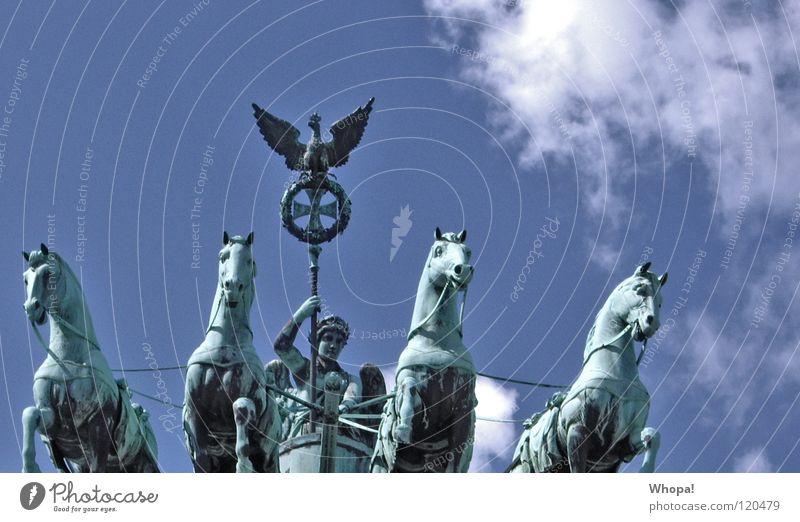 Sky Blue Clouds Berlin Germany Historic Rider Brandenburg Gate