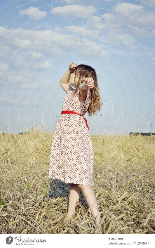 it was once in summer ....... Child Girl young girl Arm Hand Hair and hairstyles Dress Exterior shot Field Sky Nature Landscape Summer Gesture Dramatic art