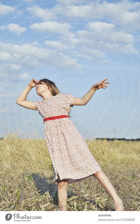 it was once in summer ...... Child Girl Face Arm Hand Hair and hairstyles Dress Exterior shot Field Sky Nature Landscape Summer Gesture Actor Dramatic art
