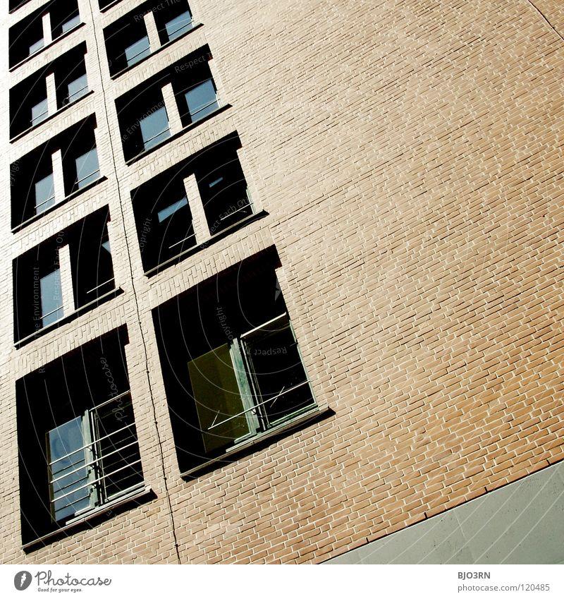 City Red Black Colour Dark Window Gray Building Line Bright Brown Glass Corner Brick Square