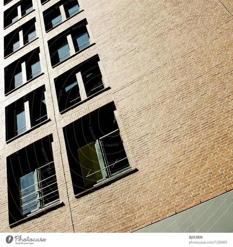 hard and burnt out Brick Red Brown Black Window Building Town Gray Square Rectangle Corner Sharp-edged Dark Detail Contrast Line Glass Window pane urban motif