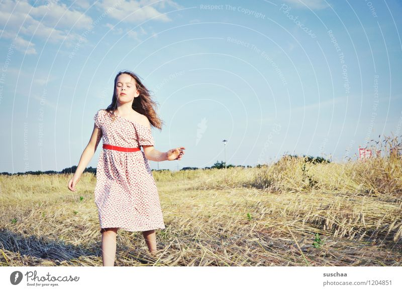 it was once in summer ........ Child Girl feminine young girl Face Arm Hand Hair and hairstyles Dress Exterior shot Field Sky Nature Landscape Summer Gesture