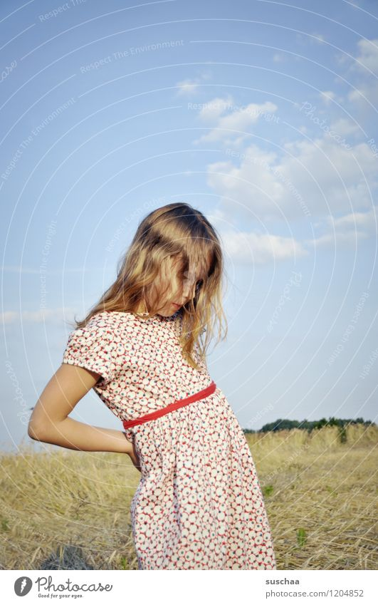 It was once in summer. Child Girl Face Arm Hand Hair and hairstyles Dress Exterior shot Field Sky Nature Landscape Summer Gesture Actor Dramatic art Talented