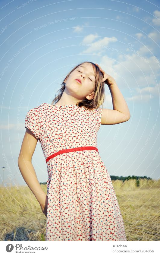 once upon a time in summer ... Child Girl Beautiful Dress Summer Nature Exterior shot Hair and hairstyles Long-haired Sky Arm Hand Face Eyes Nose Mouth Pride