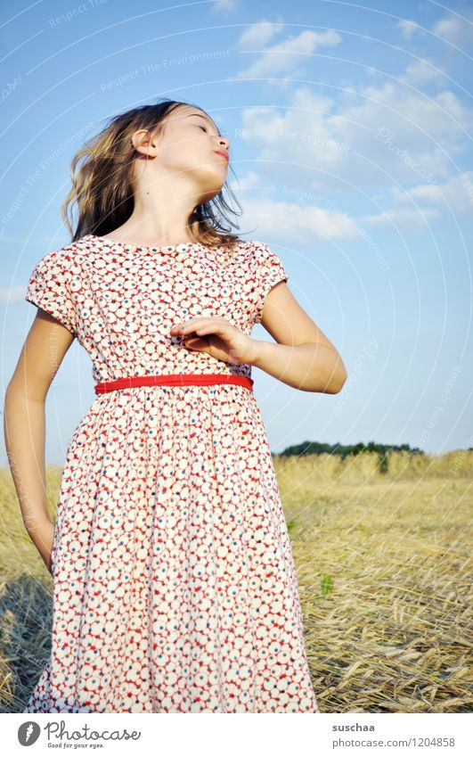 Sky Child Nature Beautiful Summer Hand Girl Face Warmth Hair and hairstyles Arm Dress Long-haired