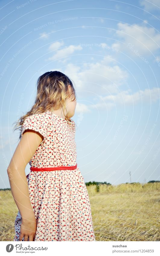 Once upon a time in summer .. Child Girl Face Arm Hand Hair and hairstyles Dress Exterior shot Field Sky Nature Landscape Summer Gesture Actor Dramatic art