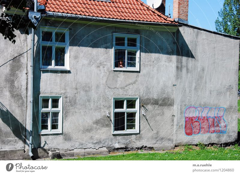 Human being City Old Loneliness House (Residential Structure) Window Life Wall (building) Graffiti Feminine Wall (barrier) Gray Lifestyle Moody Facade