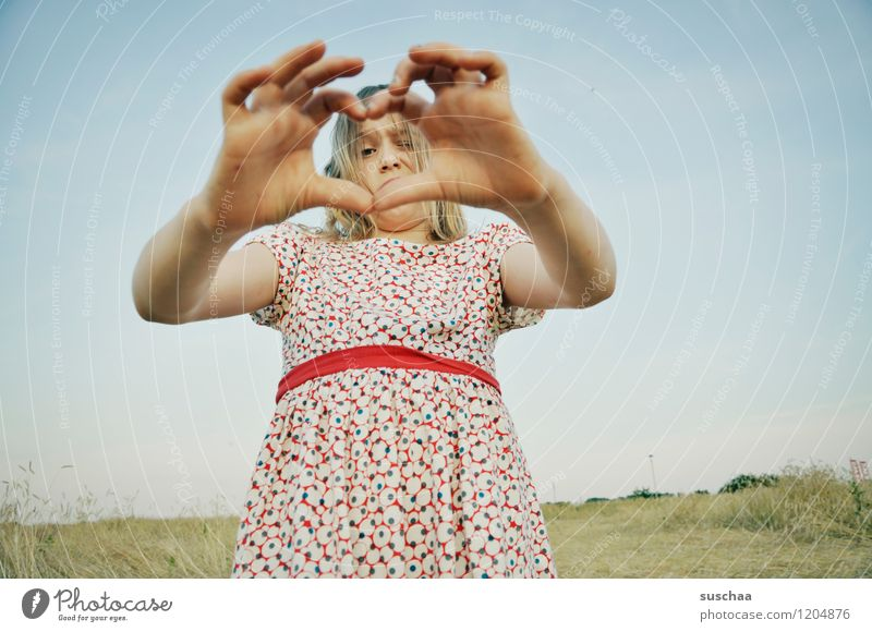 it was once in summer ........ Child Girl Face Arm Hand Fingers Dress Sign Exterior shot Field Summer Sky Horizon Retro Perspective Funny Love