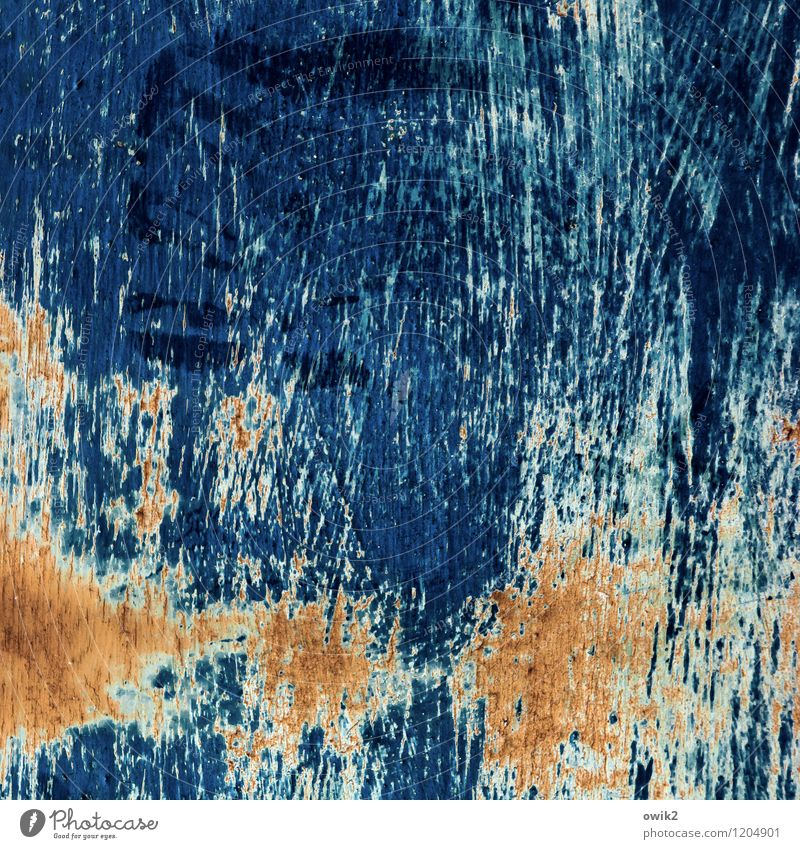 itching Art Work of art Metal Blue Brown Orange Decline Transience Change Destruction Claw mark Scratch mark Tracks Ravages of time Derelict Colour photo