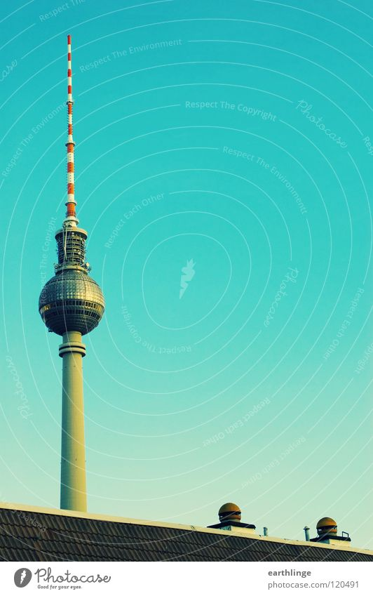 Today: Telespargel Transmitting station Roof Green Ventilation Portrait format Vertical Alexanderplatz Far-off places Colour photo Sublime Eye-catcher