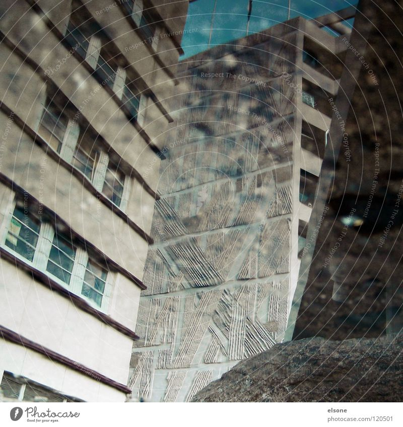 ::SUNDAY PICTURE:: Gray Gloomy Town Concrete Puddle Reflection Pforzheim Bridge Modern houses.house Water chaotic elson Tilt Architecture