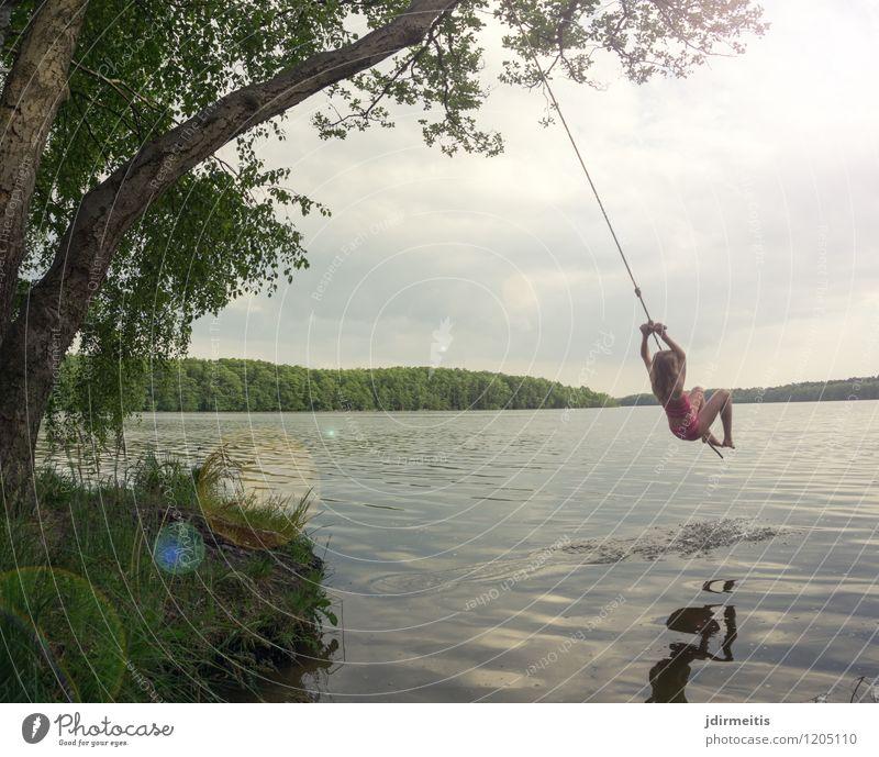 Human being Child Nature Vacation & Travel Summer Water Landscape Joy Girl Environment Feminine Playing Happy Freedom Swimming & Bathing Lake