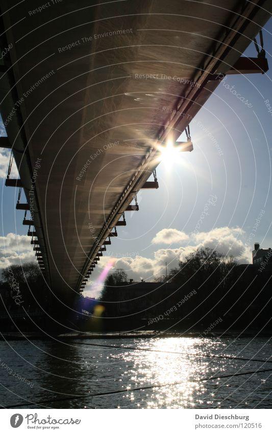 Water Sky Sun Ocean Blue Summer Vacation & Travel Black Clouds Window Lake Watercraft Lighting Glass Rope Bridge