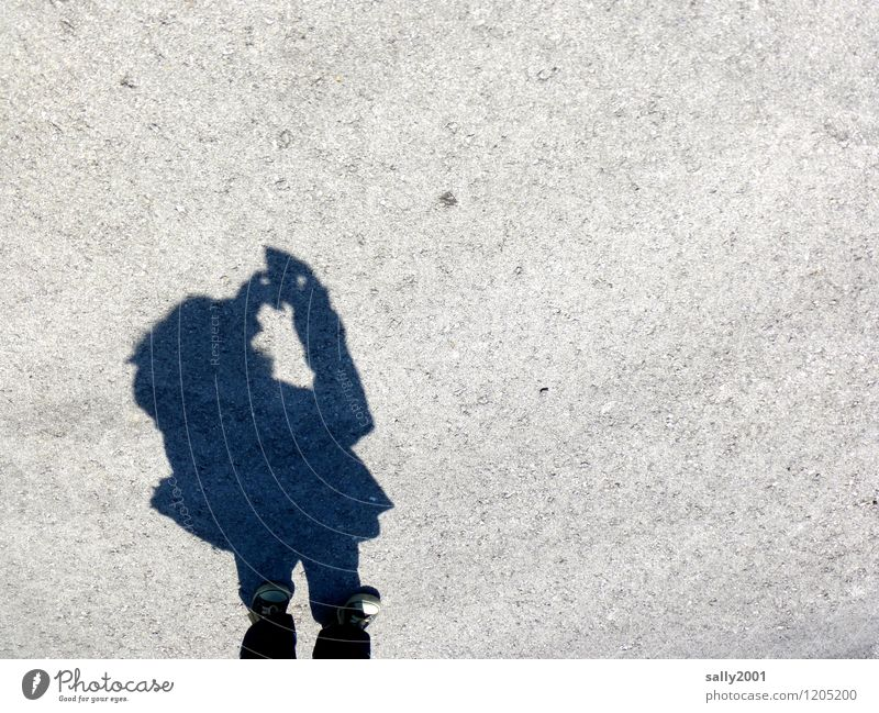 Human being Youth (Young adults) Young woman Small Masculine Body Asphalt Camera Hip & trendy Sneakers Take a photo Self portrait PDA Shadow play Dwarf Selfie