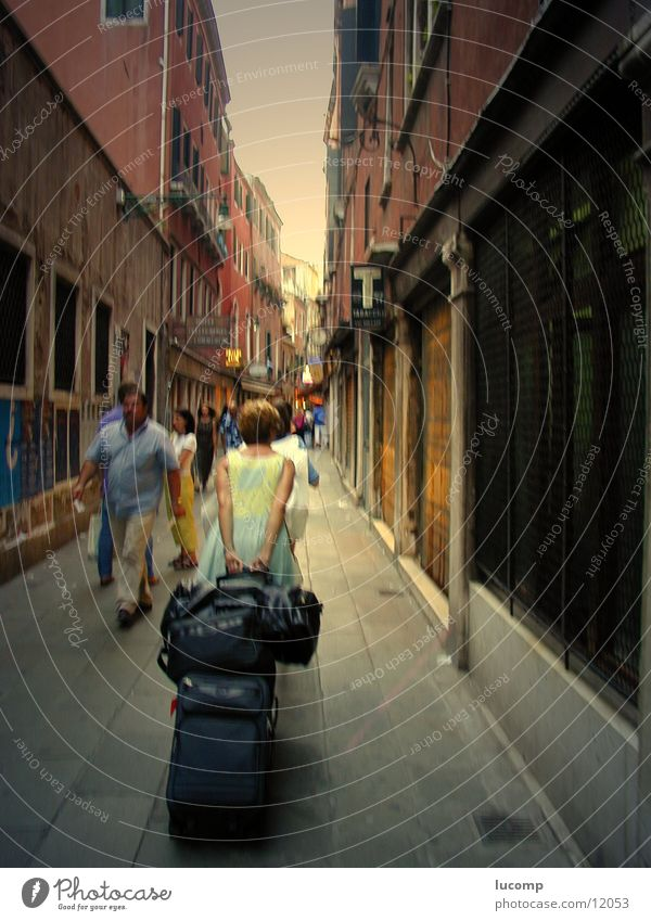 Woman Human being Man Vacation & Travel House (Residential Structure) Street Lanes & trails Italy Culture Logistics Pedestrian Venice Haste