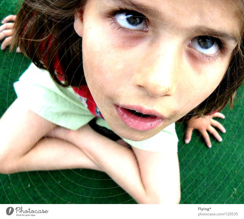 Child Hand Girl Eyes Grass Fear Small Sit Lips Ask Panic Shorts Feeble Marvel Cross Insecure