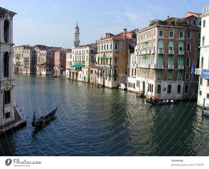 Vendig/Canale Grande Venice Canal Grande Summer Ocean House (Residential Structure) Gondola (Boat) Italy Light Calm Moody Sun Water Blue Baroque Venezia