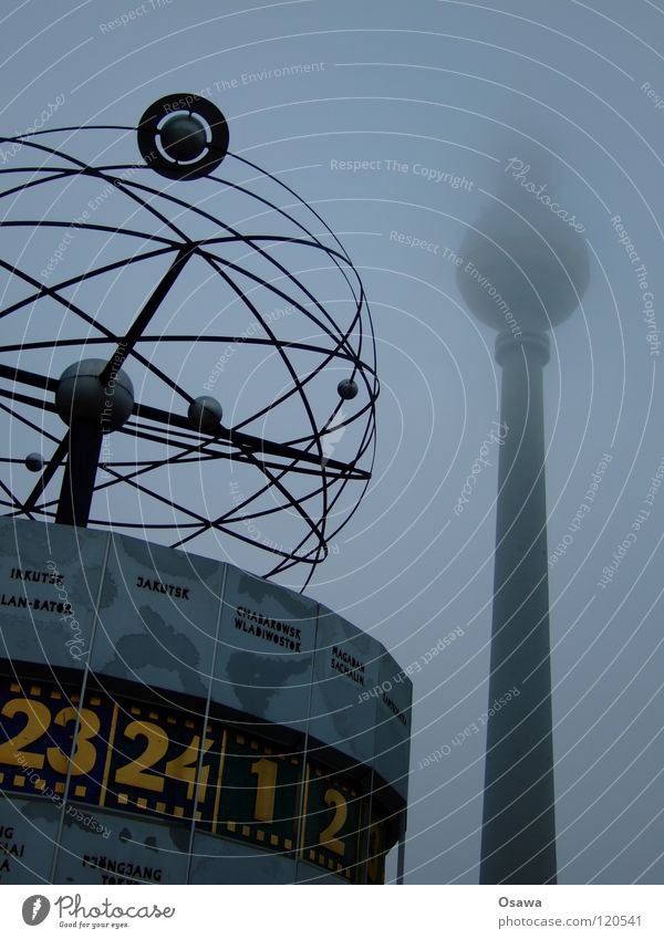 TV Tower and World Time Clock Alexanderplatz Middle Berlin East Building Manmade structures Landmark Fog Clouds Dark High fog Lamp 2 Dreary Winter Monument alex