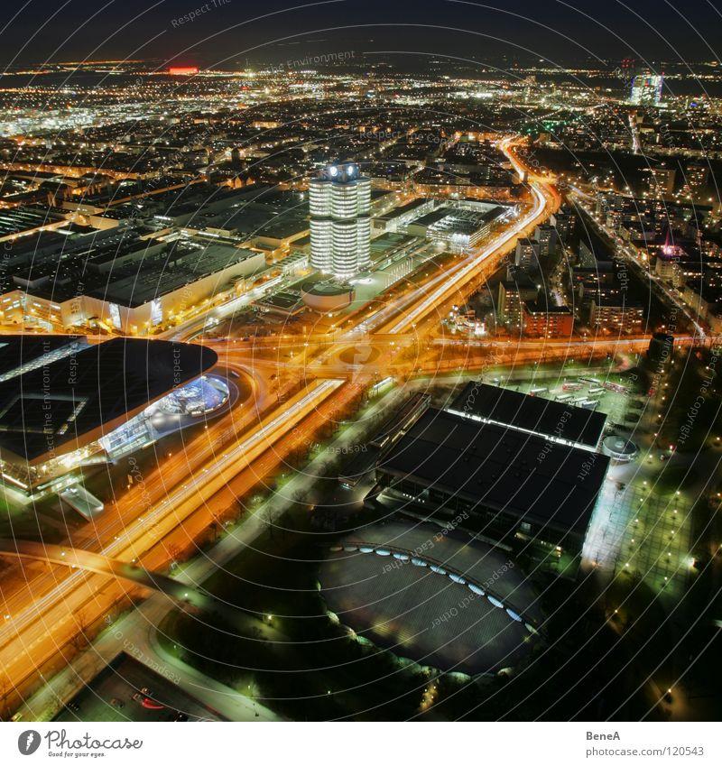 Sky White City Black Yellow Street Lamp Life Dark Night Development Bird's-eye view Back Transport Circle
